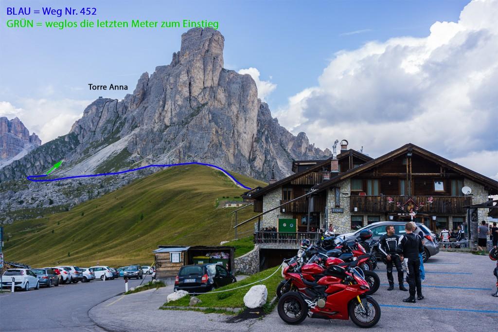 der Zustieg - Startpunkt ist der Passo Giau